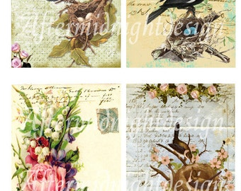 Digital Postcards Vintage Birds for Cards, Tags, Journaling, Scrapbooks, ATC, ACEO