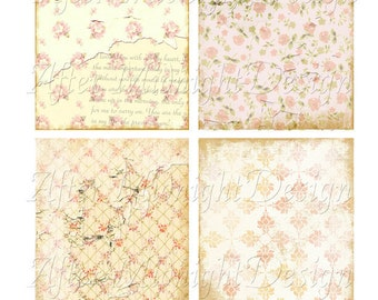 PINK ROSES COLLAGE sheet digital scrapbooking cards tags romance love valentine