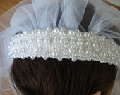 First Communion Pearl Headband with edged white tulle Veil attached NEW