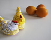 crochet egg cozies in yellow white - set of 2 egg warmers - breakfast