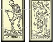 Instant Digital Download Vintage Tarot Cards Collage Sheet 1x2 Domino Antique Halloween Horror Macabre Witchcraft Oddity Weird Labels (62)