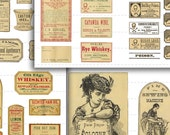 107 Digital Download Vintage Apothecary Labels Anitque Druggist Pharmacy Halloween Potion Poison Oddities Macabre Horror 12 Collage Sheets