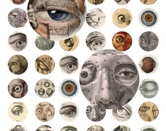 Instant Digital Download Collage Sheet Vintage Victorian Eyes Eyeballs Anatomy Halloween Horror Gore Oddity 1 Inch Circles Bottle Caps (27)