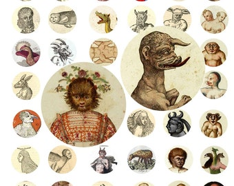 Digital Download Collage Sheet 54 Vintage Monsters Freaks Oddities 1 Inch Circles Bottle Caps (17)