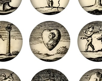 Digital Download Collage Sheet Vintage Old Antique 1700's Emblems 1 Inch Circles Angels Heart Tree Weird Strange Bizarre Bottle Caps (15)