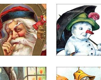 Digital Download Collage Sheet 1X1 Squares Vintage Christmas Santa Snowman Holiday Tiles (39)