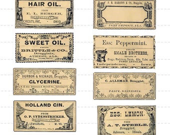 Digital Download Collage Sheet Antique 1800's Vintage Druggist Apothecary Old Pharmacy Drugstore General Store Bottle Labels 10 (114)