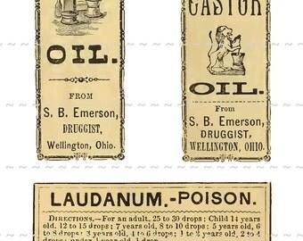 Digital Download Collage Sheet Antique 1800's Vintage Druggist Apothecary Pharmacy Labels 11 Laudanum Oil Poison Skull & Bones (115)