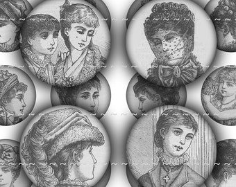 "Digital Download Collage Sheet 1"" Inch Circles Bottle Caps Vintage Antique Victorian Female Women Girls  Fashion Hair Clothing 1 (28)"