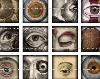 Digital Download Collage Sheet Vintage Eyes Eyeballs Anatomy Halloween Horror 1x1 Squares Tiles (41)