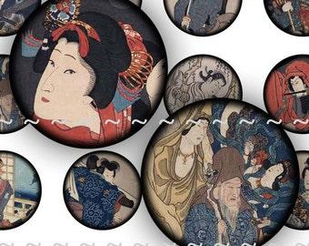 "Digital Instant Download Collage Sheet Vintage Antique Japan Asian Japanese Art 1"" Inch Circles Bottle Caps Samurai Geisha (141)"
