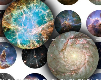 Digital Download Collage Sheet 14mm Circles Space Galaxies Planets Universe Stars Nebula