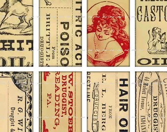 Digital Download Collage Sheet 1x2 Domino Vintage Pharmacy Apothecary Labels II Poison Hair Oil Rum