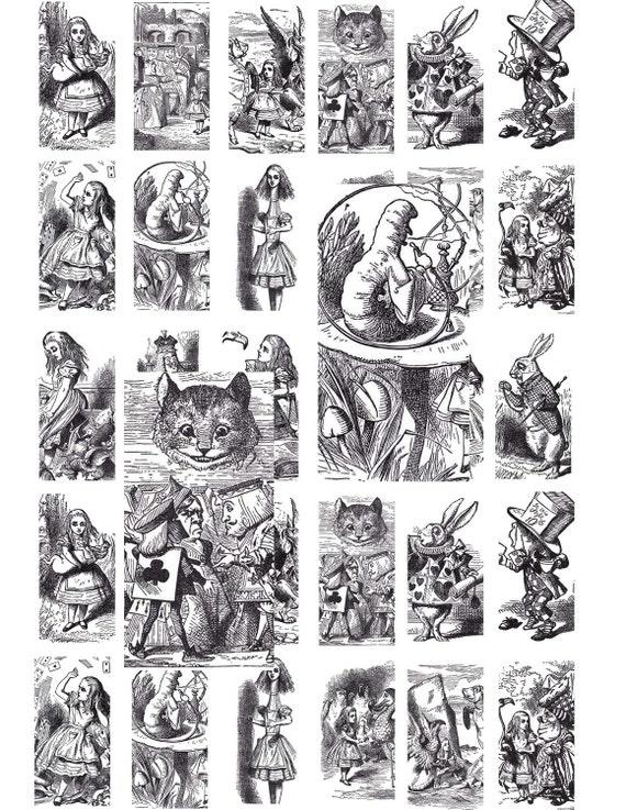 Digital Download Collage Sheet Vintage Alice In Wonderland 1890's 1x2 Domino (76)