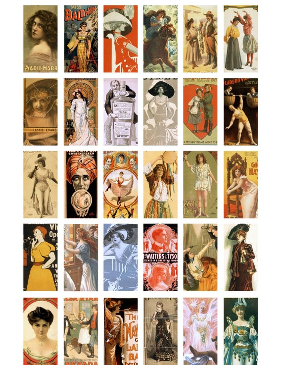 Digital Download Collage Sheet Vintage Posters 1x2 Domino