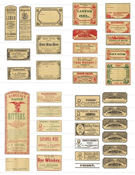 Digital Download Antique Victorian 1800's Mini Vintage Druggist Apothecary Pharmacy Lemon Poison Oil Labels 50% Miniature Halloween 2 (90)