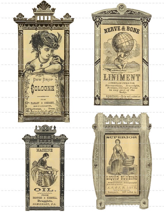 Digital Download Collage Sheet Vintage Framed 1800's Pharmacy Apothecary Druggists Labels Ephemera (117)