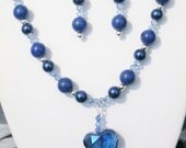 Blue Crystal Heart Necklace & Earrings