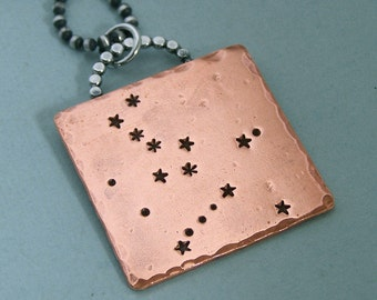 Constellation Necklace - Hercules - Hand Stamped Copper and Sterling Silver