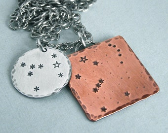 Constellation Necklace - Orion and Canis Major - Hand Stamped Copper and Sterling Silver
