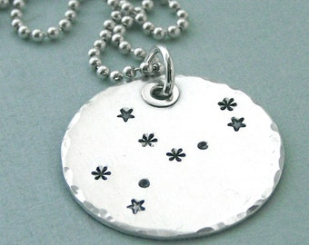 Virgo - Hand Stamped Constellation Necklace - Sterling Silver