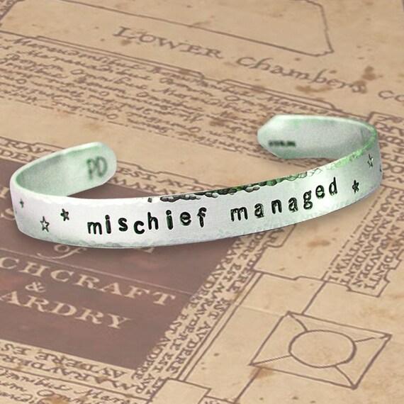 Mischief Managed - Cuff Bracelet - Hand Stamped Sterling Silver