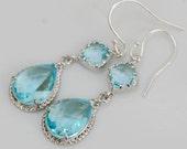Something Blue,Aquamarine ,Sterling Silver,Blue,Diamond Earringl,Aqua,March Birthstone,Wedding,Bride,Crystal.Wedding,Bridal, Bridesmaid