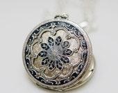 Personalization Locket Necklace,Jewelry Gift, Silver Locket,Blue Locket,filigree locket necklace,photo locket,Wedding Necklace,bridesmaid