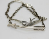 Silver Arrow and Silver Bird,Wedding Bracelet