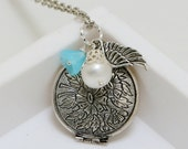 Silver Locket ,Baby blue flower,Angel Wing,Pearl,Silver Locket,Antique Necklace,Antique Locket,Wedding Necklace