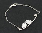 Silver Love Birds,Sterling Silver,Silver Branch,Silver Bracelet,Bird,Family,Bride,Wedding.
