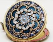 Locket,blue locket,Jewelry Gift,filigree locket necklace,photo locket ,bridesmaid gift Brass locket - vintage brass filigree Locket