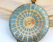 Locket,Locket,Sky Blue Locket,jewelry gift, Filigree locket,Wedding Necklace,Bridesmaid Necklace,bridesmaid gift locket,38mm locket