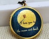 Locket Necklace, jewelry,Necklace,Owl Locket,Pendant,Moonlight Owl,Brass locket-I love you to the moon and back ,Bridesmaid Necklace,Wedding