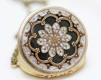 Locket,Black and White locket,filigree locket necklace,resin locket ,bridesmaid gift Brass locket - vintage brass filigree locket