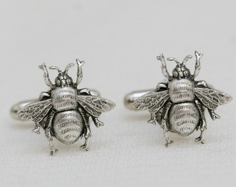 Bee Cufflinks Silver Plated Bees Vintage Inspired Style Gothic Victorian Men's Cuff Links Accessories Jewelry & Gifts