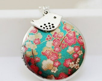 Locket,Silver Locket,jewelry gift, Bird Charm, Cherry Blossom, Blue Locket,Wedding Necklace,Something Green