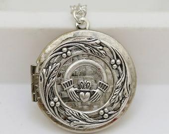 Irish Locket,Claddagh Locket,jewelry gift,Silver Locket,Locket,Photo Locket,Locket Necklace,Wedding Necklace
