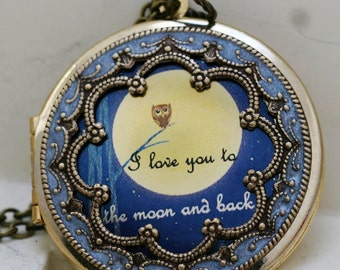 Locket,Owl Locket,Photo Locket, Wedding Necklace,I love you to the moon and back - Jewelry Gift,,bridesmaid gift locket necklacer