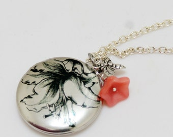 Silver Locket,Photo Locket,Lily Locket,Pink Floral,Garden,Bee,Flower,Leaf,Black and White Locket