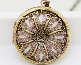 Locket, Poppy Locket,Resin locket,Pink and Pearl Color Locket,filigree locket ,photo locket ,vintage brass locket -Wedding Necklace