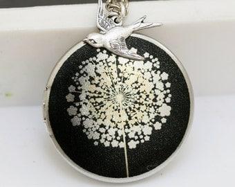 Locket,Silver Locket,Jewelry Gift, Dandelions Locket,Bird,Image locket,picture locket, brass locket,Wedding Necklace