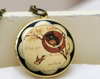 Locket Necklace,Moonlight Owl,Locket,Jewelry,Necklace,Pendant,Owl Locket,Brass locket,Owl,Antiqued Style, -I love you to the moon and back