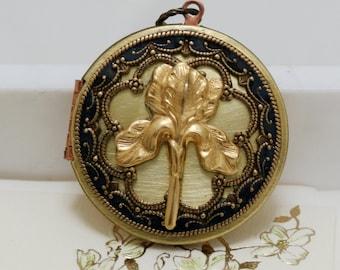 Locket,Iris Locket,blue locket,filigree locket necklace,resin locket,photo locket ,bridesmaid gift Brass locket - vintage brass locket