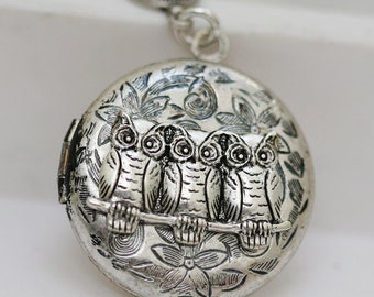 Locket Necklace,Silver Owl Locket,Locket,Leaf,Jewelry,Three Owls,Family,Flower,Antique Locket,Filigree Leaf,Locket Necklace,Wedding Necklace