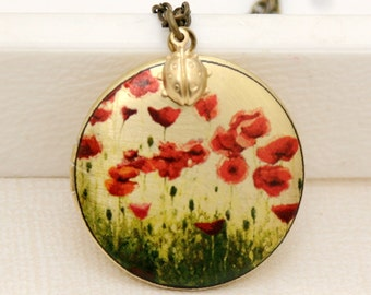 Locket ,Photo Locket,Brass Locket,Lady Bug and Colorful Poppy Flowers Locket,Wedding Necklace,Red Poppy Flower