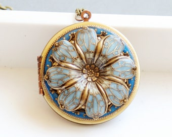 Locket, Poppy Flower Locket,Resin locket,Blue Locket,Enameled Wedding Necklace,photo locket , brass locket - vintage locket,38mm locket