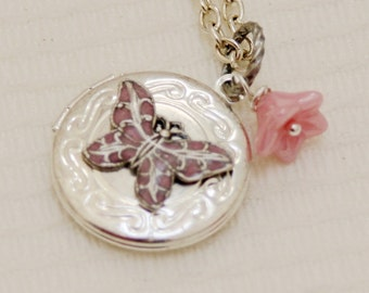 Locket,Silver Locket,Antique Locket,Girl,Child,Baby,Girl Locket,Flower Girl Locket,Pink Butterfly and Flower