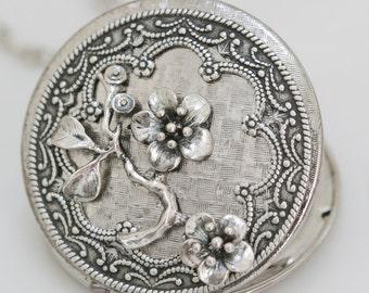 Locket Necklace,Cherry Blossom,,Silver Locket,Antique Locket,Flower Locket,Flower,vintage locket,Wedding Necklace,bridesmaid necklace