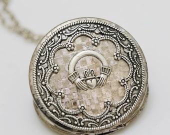Locket,Jewelry,Necklace,Pendant,Claddagh Silver Locket,Irish Locket,vintage style,Wedding Necklace,bridesmaid necklace